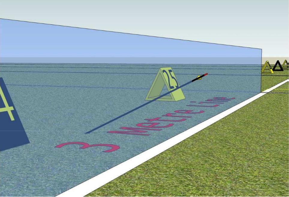 fleche partiellement devant la ligne des 3m
